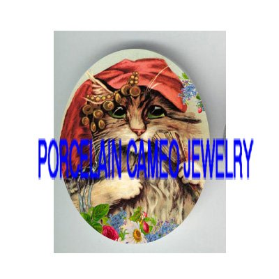 VICTORIAN GYPSY KITTY CAT ROSE* UNSET PORCELAIN CAMEO CAB