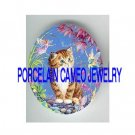 KITTY CAT PLAY WITH BUTTERFLY FAIRY * UNSET PORCELAIN CAMEO CAB