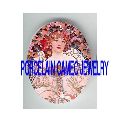 ALPHONSE MUCHA PINK FLOWER LADY * UNSET PORCELAIN CAMEO CAB
