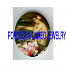 VICTORIAN MERMAID 2 KITTY CAT PINK ROSE* UNSET PORCELAIN CAMEO CAB