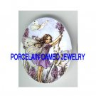 VICTORIAN LAVENDER BUTTERFLY FAIRY KITTY CAT * UNSET PORCELAIN CAMEO CAB