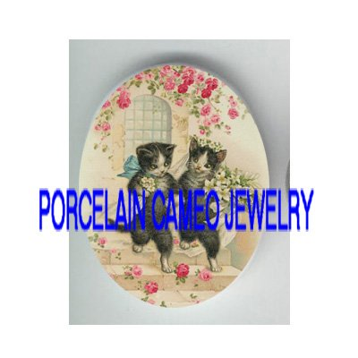 2 VICTORIAN KITTY CAT COUPLE ROSE WEDDING* UNSET PORCELAIN CAMEO CAB