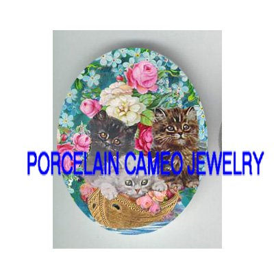 3 VICTORIAN KITTY CAT ROSE FORGET ME NOT BOAT PORCELAIN CAMEO CAB
