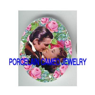 GONE WITH THE WIND KISSING ROSE* UNSET PORCELAIN CAMEO CAB