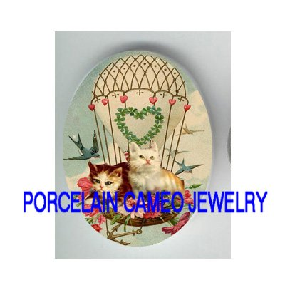VICTORIAN KITTY CAT ROSE BALLOON* UNSET PORCELAIN CAMEO CAB