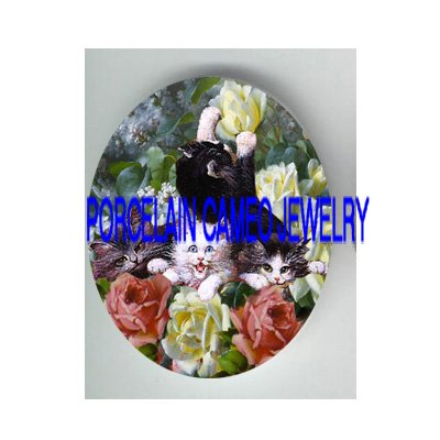 VICTORIAN 4 KITTY CAT ROSE LILACS * UNSET PORCELAIN CAMEO CAB