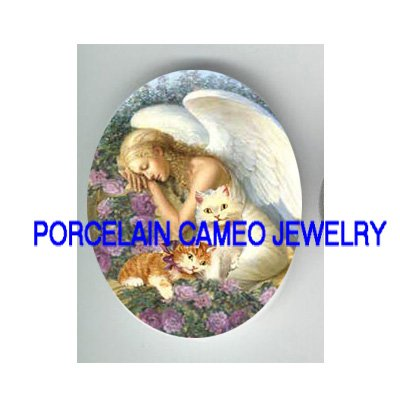 SLEEPING ANGEL 2 KITTY CAT ROSE * UNSET PORCELAIN CAMEO CAB