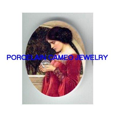 JOHN WATERHOUSE LADY HOLD CRYSTAL BALL PORCELAIN CAMEO