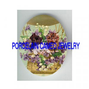 VICTORIAN KITTY CAT VIOLET LILY OF VALLEY BALLOON PORCELAIN CAMEO CAB