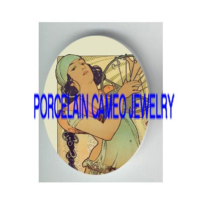 ALPHONSE MUCHA GYPSY LADY* UNSET PORCELAIN CAMEO CAB