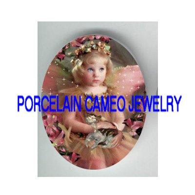 PINK LILY ANGEL GIRL HOLDING KITTY CAT* UNSET PORCELAIN CAMEO CAB