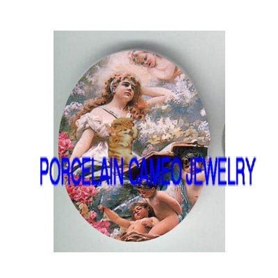 VICTORIAN GODDESS ANGEL CHERUB KITTY CAT READ BOOK* UNSET PORCELAIN CAMEO CAB
