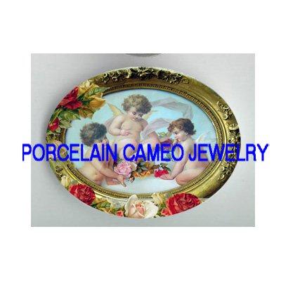 3 VICTORIAN ROCOCO ANGEL CHERUB ROSE* UNSET PORCELAIN CAMEO CAB