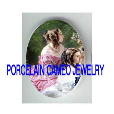 VICTORIAN PINK DRESS LADY * UNSET PORCELAIN CAMEO CAB