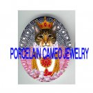 CROWN JEWELED QUEEN KITTY CAT ROSE  * UNSET PORCELAIN CAMEO CAB