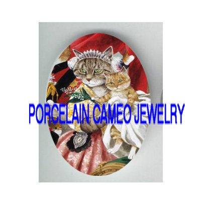 VICTORIAN QUEEN MOM CAT HOLD KITTY CAT PRINCE* UNSET PORCELAIN CAMEO CAB