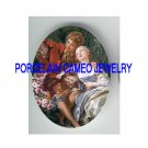 FRENCH COURTING COUPLE KITTY CAT ROSE * UNSET PORCELAIN CAMEO CAB