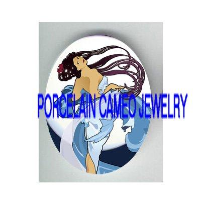 ALPHONSE MUCHA ART NOUVEAU BLUE DANCER LADY* UNSET PORCELAIN CAMEO CAB