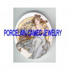 ALPHONSE MUCHA ART FLOWER LADY* UNSET PORCELAIN CAMEO CAB