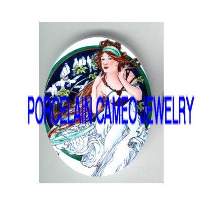BLUE ALPHONSE MUCHA ART FLOWER LADY* UNSET PORCELAIN CAMEO CAB