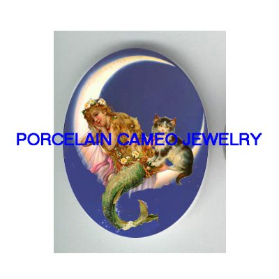 VICTORIAN MERMAID MOON KITTY CAT* UNSET PORCELAIN CAMEO CAB