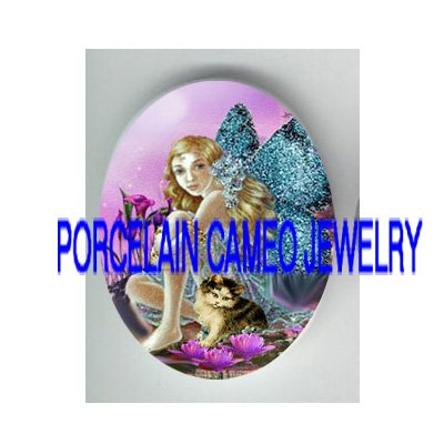 BUTTERFLY FAIRY KITTY CAT CALLA LILY* UNSET PORCELAIN CAMEO CAB