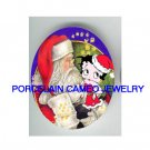 CHRISTMAS SANTA TICKLING BETTY BOOP* UNSET PORCELAIN CAMEO CAB