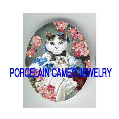 VICTORIAN QUEEN CAT HOLD PRINCESS KITTY CAT ROSE * UNSET PORCELAIN CAMEO CAB