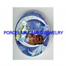 MERMAID SITTING ON MOON WITH KITTY CAT* UNSET PORCELAIN CAMEO CAB