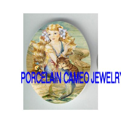 VICTORIAN FLOWER MERMAID CUDDLING KITTY CAT * UNSET PORCELAIN CAMEO CAB