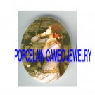 JOHN WATERHOUSE POPPY LADY WATER LILY POND* UNSET PORCELAIN CAMEO CAB