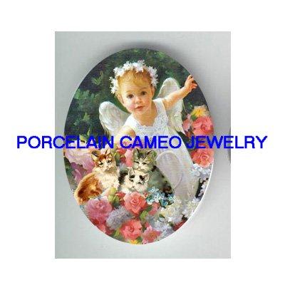 ROSE ANGEL GIRL KITTY CAT FLOWER GARDEN* UNSET PORCELAIN CAMEO CAB