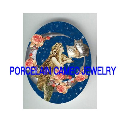 VICTORIAN MERMAID WITH KITTY CAT ROSE MOON* UNSET PORCELAIN CAMEO CAB