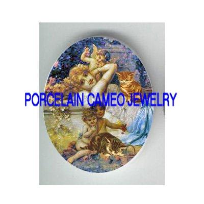 VICTORIAN GODDESS ANGEL CHERUB KITTY CAT * UNSET PORCELAIN CAMEO CAB