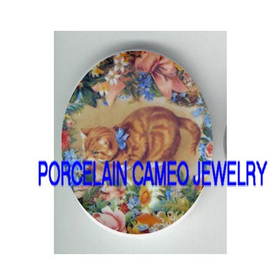 VICTORIAN YELLOW KITTY CAT ROSE FORGET ME NOT * UNSET PORCELAIN CAMEO CAB