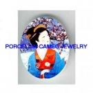 JAPAN GEISHA LADY CHERRY SNOW * UNSET PORCELAIN CAMEO CAB