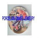 JAPAN GEISHA LADY FLOWER UMBRELLA* UNSET PORCELAIN CAMEO CAB