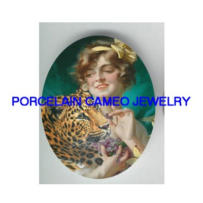 VICTORIAN LADY BUTTERFLY LEOPARD WILD CAT* UNSET PORCELAIN CAMEO CAB