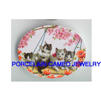 4 VICTORIAN KITTY CAT SWING POPPY FLOWER* UNSET PORCELAIN CAMEO CAB