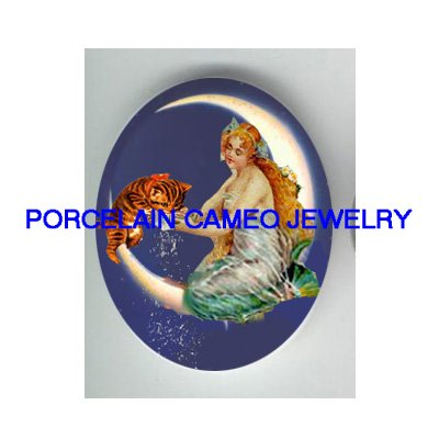 VICTORIAN MERMAID FEED KITTY CAT MOON* UNSET PORCELAIN CAMEO CAB