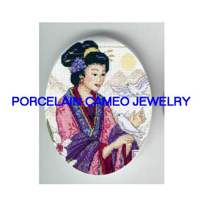 ORIENTAL LADY FLOWER DOVE* UNSET PORCELAIN CAMEO CAB