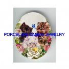 3 VICTORIAN KITTY CAT ROSE BUTTERFLY  * UNSET PORCELAIN CAMEO CAB