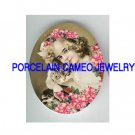VICTORIAN GIRL CUDDLING KITTY CAT ROSE   * UNSET PORCELAIN CAMEO CAB