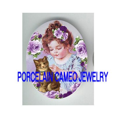 VICTORIAN GIRL KITTY CAT LAVENDER ROSE   * UNSET PORCELAIN CAMEO CAB