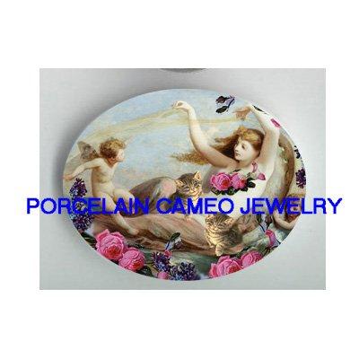 2 VICTORIAN GODDESS ANGEL CHERUB KITTY CAT ROSE * UNSET PORCELAIN CAMEO CAB
