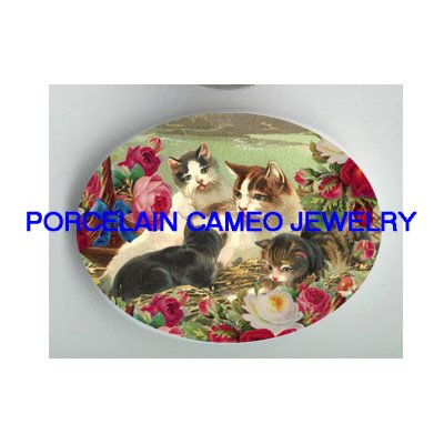 VICTORIAN MOM KITTY CAT FAMILY ROSE GARDEN * UNSET PORCELAIN CAMEO CAB