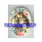 VICTORIAN KITTY CAT HAPPY FAMILY FLOWER* UNSET PORCELAIN CAMEO CAB