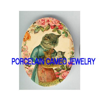 VICTORIAN KITTY CAT MOM HOLD 3 KITTY  BASKET ROSE* UNSET PORCELAIN CAMEO CAB