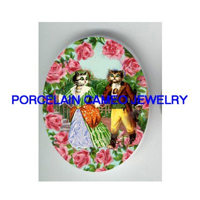 FRENCH COUPLE CAT DATING ROSE GARDEN* UNSET PORCELAIN CAMEO CAB