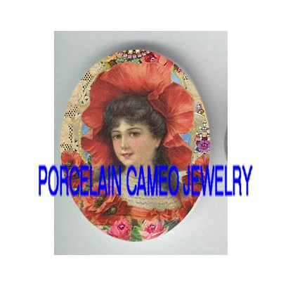 VICTORIAN POPPY HAT SMILING LADY ROSE * UNSET PORCELAIN CAMEO CAB
